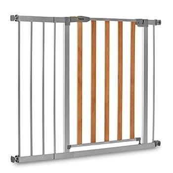 Hauck Barrière de Sécurité pour Enfants Wood Lock 2 incl. Extension de 21 cm / de 96 à 101 cm / Sans Percage / Métal et Bois / gris