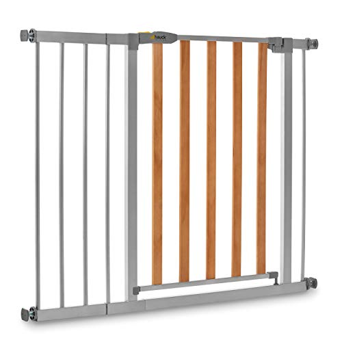Hauck Safety Gate for Doors and Stairs Wood Lock 2 incl. 21 cm Extension / Pressure Fit / 96 - 101 cm Large / Metal and Wood / Grey