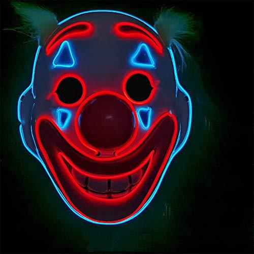 Queta Hallowenn LED Maske Clown Maske Joker LED Lichtmaske Fasching Karneval Party Cosplay Kostüme Dekoration