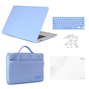 MacBook Pro 15 Retina Case Bundle 5 in 1,iCasso Hard Shell Cover with Sleeve Screen Protector Keyboard Cover & Dust Plug for MacBook Pro 15   Retina Model A1398  Release 2012-2015  - Serenity Blue