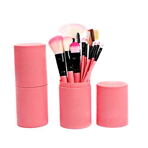 12 PCS Makeup Brush Set with Case Professional Cosmetic Brushes for Powder Foundation, Eyeshadow, Eyeliner, Lip-Pink