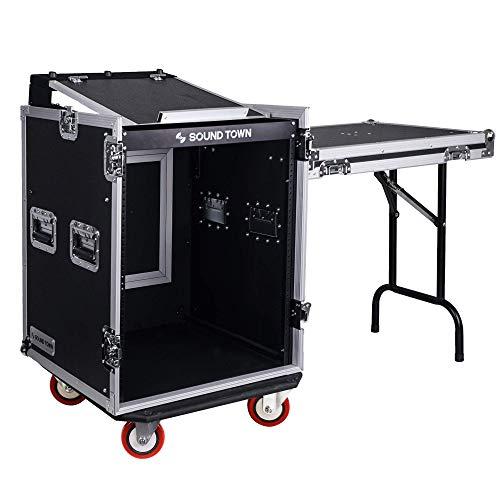 Sound Town 14U PA DJ Rack Road ATA Case with 11U Slant Mixer Top, 20'' Rackable Depth, DJ Work Table and Casters, 14 Space Size, Pro Tour Grade (STMR-14UWT)