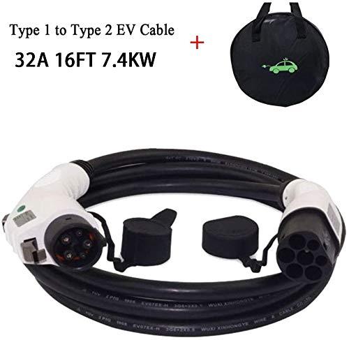 K.H.O.N.S. Vehículos Eléctricos/EV Cable de Carga Tipo 1 a Tipo 2 para Tipo1 EV,32 A/16A,7.4KW, 5M Cable y Bolsa
