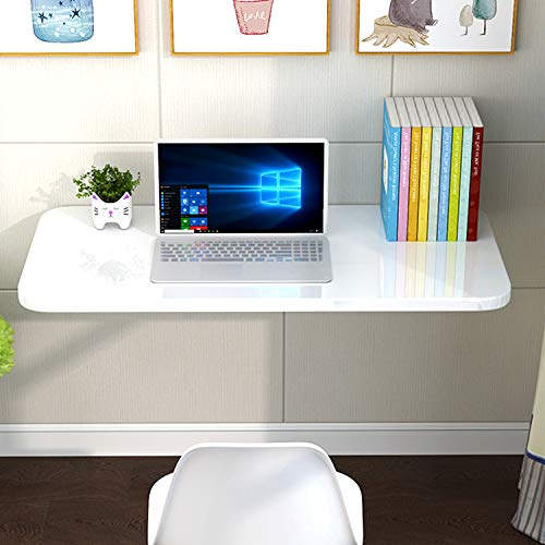 aleawol Wall Mounted Table Folding Floating Laptop Desk Fold-Down Work Table Drop-Leaf Table Wall Writing Desk PC Table Computer Desk Dining Table with Brackets for Space Saving (White 60x40cm)