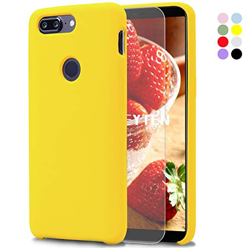 Fatcatparadise OnePlus 5T Case [with Free Tempered Screen Protector], Liquid Silicone Gel Rubber Soft Touch Cover Full Protective Case for OnePlus 5T (Yellow)