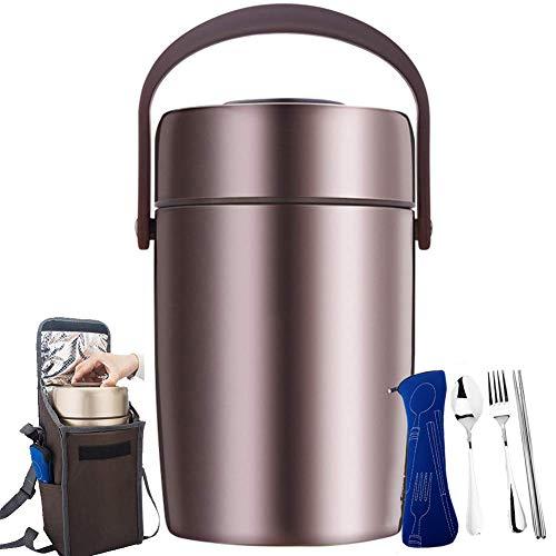 BWCX Edelstahl Thermobehälter mit Aufbewahrungstasche und Geschirr, Isolier-Speisegefäß,Dicht,2.0L,Rosegold