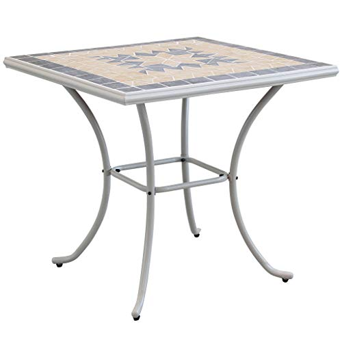 Milani Home s.r.l.s. Tavolo Quadrato Fisso in Ferro 80 X 80 Piano Mosaico per Esterno Giardino, Portico, Ristorante, Gelateria Bar Hotel Albergo