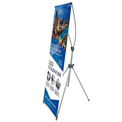T-SIGN Reinforced Block Adjustable Tripod X Banner Stand, 23 x 63 to 32 x 78 Inch, Portable Travel Bag, Bigger, More Adaptable, Trade Show Exhibition