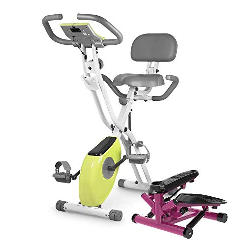 leikefitness Twist Stair Stepper 6610(Purple) and Folding Exercise Bike 2200(Yellow) Bundle