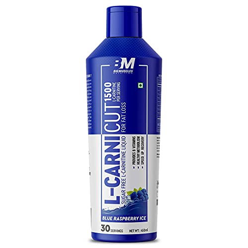 Bigmuscles Nutrition L-Carnicut Liquid L-Carnitine With Vitamin B [450 ml, Blue Raspberry Ice]   1500 mg L-CARNITINE   Sugar Free   Energy & Endurance   Performance & Recovery   Antioxidant Support  30 Days Supply