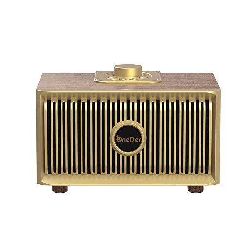 TSSM Kreative Bluetooth Lautsprecher Drehknopf Retro Holz Mini Outdoor Tragbare HiFi Stereo Surround Geschenk Home Office Party Reise