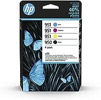HP 950-951 6ZC65AE, Negro, Cian, Magenta y Amarillo, Cartuchos de Tinta Originales, Pack de 4, para impresoras HP...