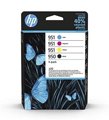 HP 950-951 6ZC65AE, Negro, Cian, Magenta y Amarillo, Cartuchos de Tinta Originales, Pack de 4, para impresoras HP Officejet Pro serie 8600, 8100, 251dw y 276sw