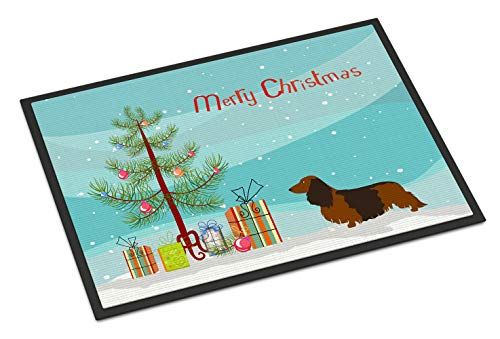 Caroline Tesoros de la de Pelo Largo de Perro Salchicha Felpudo de Navidad, Multicolor, 18HX 27W