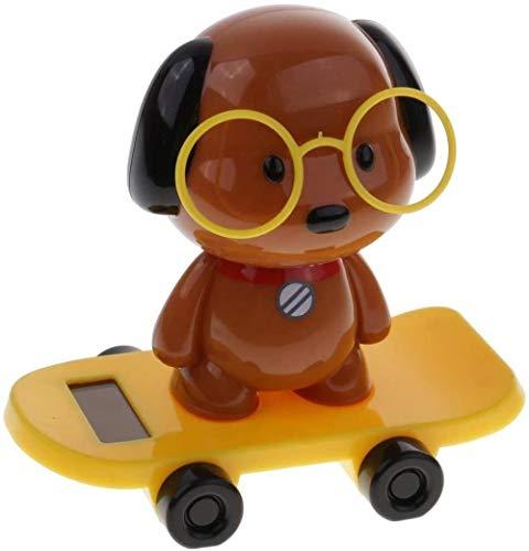 hsj 1 Stück Solar-Wobble-Figur tanzende Figur auf Skateboard, Schwein/Hund/Panda/Kaninchen Puppe, Auto Bürodekoration, Hund, gelb Exquisite Verarbeitung