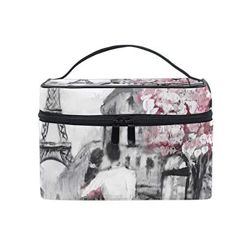 Makeup Cosmetic Bag Paris Tower Romantic Street Portable Storage with Zipper