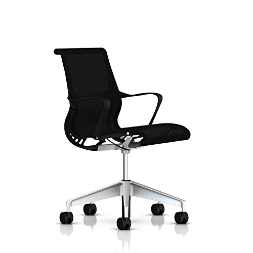 Herman Miller Setu Ergonomic Office Chair with Kinematic Spine | H-Alloy Base and Hard Floor Casters | Graphite Frame and Lyris Fabric