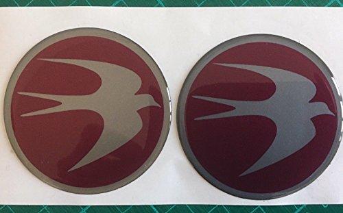 SCOOBY DESIGNS Swift Centre de roue Cap pour caravane circulaire Bird Logo badge 60 mm Bordeaux et argenté X2