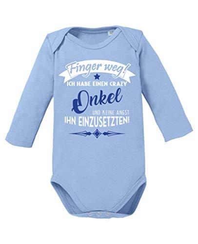 Comedy Shirts - Finger Weg! Ich Habe einen Crazy Onkel. - Baby Langarm Body - Hellblau/Weiss-Royalblau Gr. 86/92