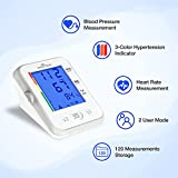 Easy@Home Tensiómetro de brazo digital-Monitor electrónico para medir la presión arterial en casa Con indicador de hipertensión en 3 colores Controlar pulso Pantalla LCD Modo para 2 Usuarios