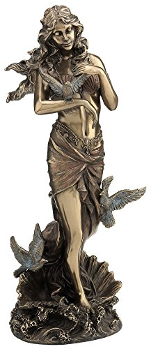 "11"" Aphrodite with Doves Standing on Sea Shell Statue, Bronze Color"