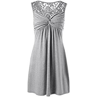 VEMOW Womens Dresses Sexy Vintage Girls Printing Knielang A-Line Loose Summer Off Shoulder Sleeveless Pockets Casual - Solid O Neck Lace Floral Patchwork Bow Dress Party (5XL, Grey):Downloadlagump3gratis
