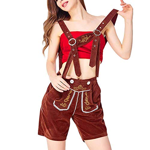 Erwachsene Oktoberfest Leatherhouse Style Hose Damen Bayerischen Beer Festival Kostüm Braun M