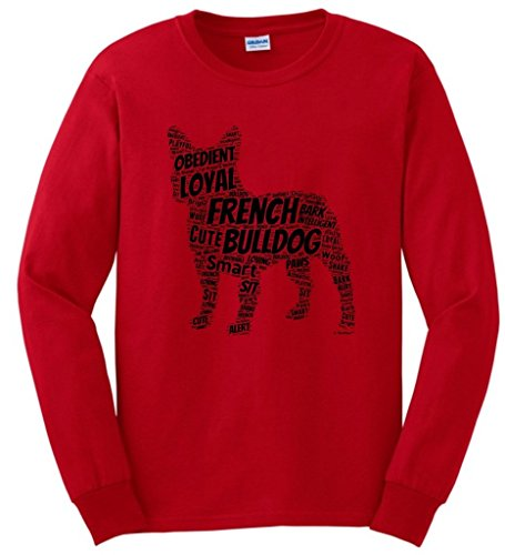 Funny Dog French Bulldog Word Art Dog Puppy Owner Gift Long Sleeve T-Shirt XL Red