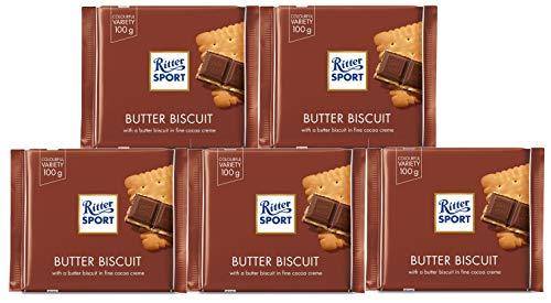 Ritter Sport - Knusper-Keks - Schokolade - 5 Tafeln a 100 Gramm