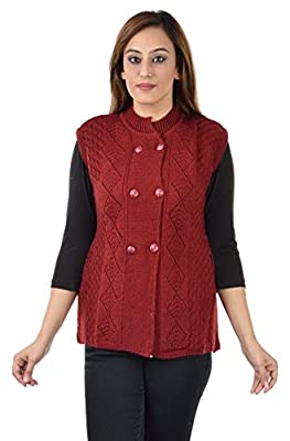 Shree Mark Womens/Ladies / Girls Woolen Sleeveless Winter Wear Buttoned Cardigan and Womens/Ladies / Girls Woolen Sleeveless Sweater.(Type-Women Woollen Cardigan;Size- Large,Light Grey)
