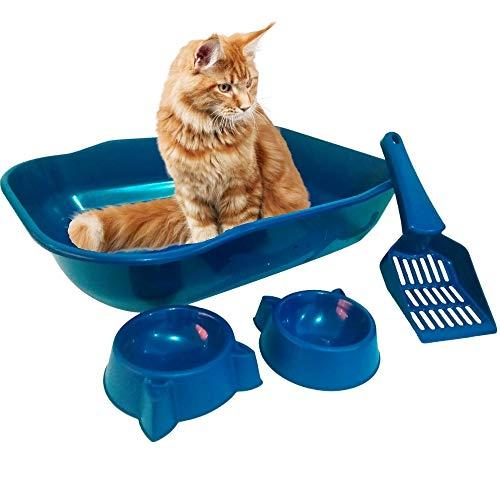 Banheiro Caixa De Areia Para Gato Kit Com Comedouro Bebedouro E Pá Higiênica Cor:Azul