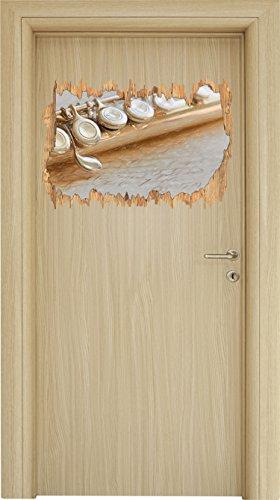 Stil.Zeit Detailaufnahme Einer Querflöte Bunstift Effekt Holzdurchbruch im 3D-Look, Wand- oder Türaufkleber Format: 62x42cm, Wandsticker, Wandtattoo, Wanddekoration