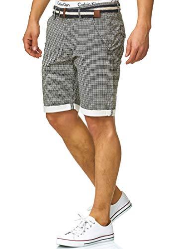 Indicode Herren Bourchier Chino Shorts mit Gürtel aus 98{815d218651308950e76ae923513bb2984c85e82167c87c519edfcd473f09c8a3} Baumwolle   Kurze Karierte Hose Regular Fit Bermudas Sommerhose Herrenshorts Short Men Pants Chinohose kurz für Männer Black M