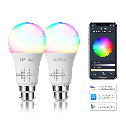 Alexa Smart WiFi Light Bulbs B22 Bayonet 2 Pack by LUMIMAN RGBCW Colour...