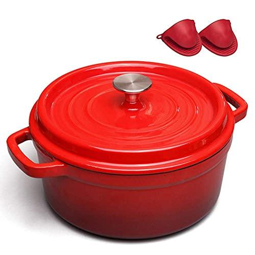Cacerola esmalte olla vintage hierro fundido freying pan binaural stewpot salud olla sopa cazuela con tapa, rojo
