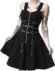 (Lady Oliver) ワンピース レディース 黒 ブラック ゴスロリ V系 ファッション ボディハーネス ミニ