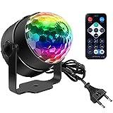 Discokugel, Disco Lights LED Party Lampe Musikgesteuert Disco Lichteffekte DJ Party lichter 360° Rotierende Ball Lights 3W RGB Bühnenlichter mit Fernbedienung für Home Geburtstag KTV...