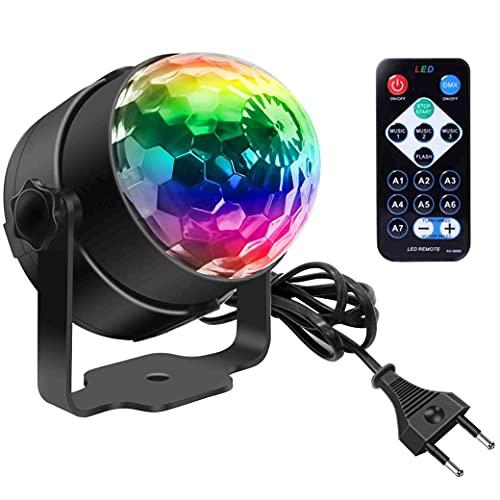 Discokugel, Disco Lights LED Party Lampe Musikgesteuert Disco Lichteffekte DJ Party lichter 360° Rotierende Ball Lights 3W RGB Bühnenlichter mit Fernbedienung für Home Geburtstag KTV Weihnachten