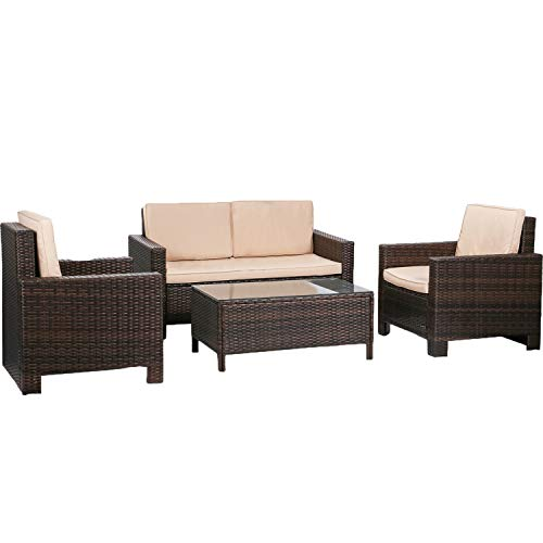 FDW Furniture 4 Piece Patio Sectional Sofa Outdoor Rattan Chair Conversation Sets Cushions Seat Lawn Balcony Poolside or Backyard Wicker, Brown