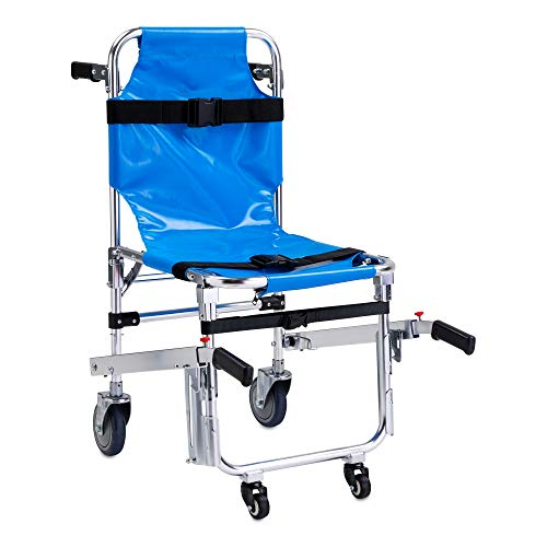 LINE2design Stair Chair 70010-BL EMS Emergency 4 Wheels Ambulance Firefighter Evacuation Medical Transport Chair with Patient Restraint Straps, 350 lbs Capacity, Blue 36″ x 21″ x 28″