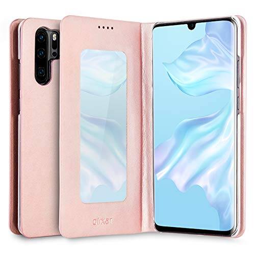 Olixar Mirror Case Compatibel met Huawei P30 Pro - PU kunstleer - smalle beschermhoes - spiegel en ingebouwde Media Viewing Stand - Leather Style - Roségoud