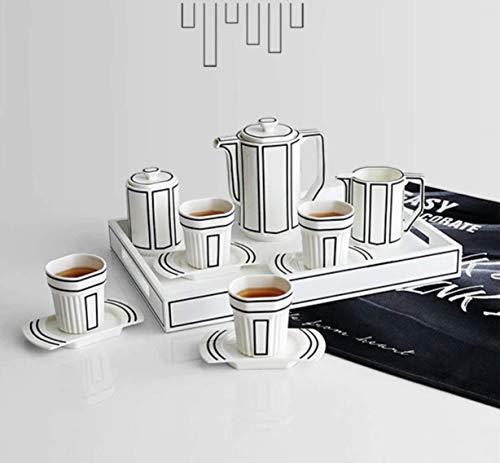 INS 12PCS SET Nordic Black White Stripe Simplicidad Modern Chic Vajilla Europea Té Tarde Hecho a Mano Británica Creativa Ligero Cerámica Carbone China Café Té Taza Pote Bandeja Deshierbe Regalo
