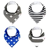 TheOBaby Baby Bibs for Boys and Girls 4-Pack Cloth Drool Bibs – Organic Cotton and Polyester Baby Bandana Bibs – Soft and Super-Absorbent Fabric – Adjustable Design – Comfortable and Cute