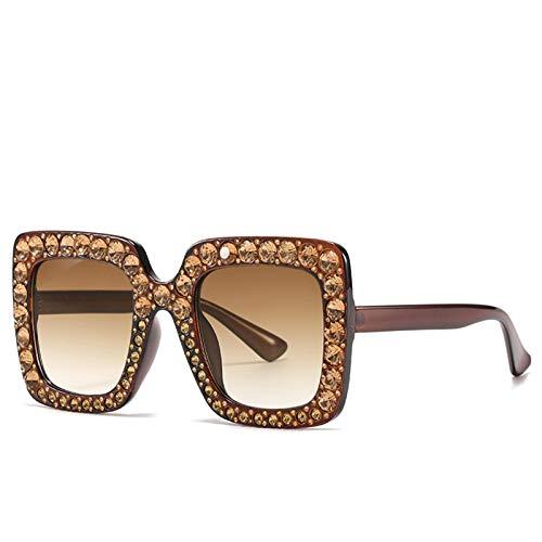 LALB Gafas De Sol, Mujeres Europeas Y Americanas con Gafas De Sol De Marco De Diamantes, Gafas Cuadradas Grandes, Gafas De Sol De Diamante Completo,A