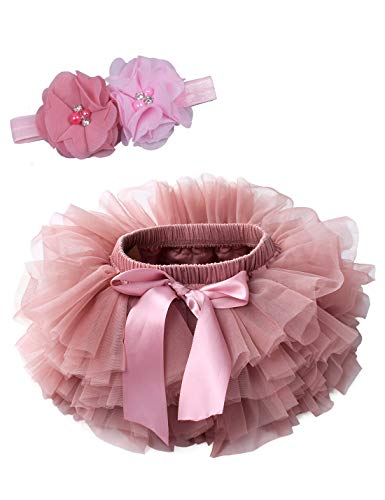 Baby Girls Tutu Bloomers Diaper Cover Cotton Tulle Bloomers and Headband Set Bean Sand 6-12 Months