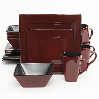 Gibson Kiesling 16 Piece Dinnerware Set, Red/Black