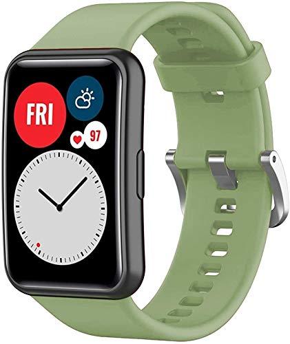 NVFED Correa de silicona para reloj Huawei Fit Correa de reloj inteligente Accesorios de repuesto para Huawei Watch Fit Correa de reloj 2020 (color de la correa: verde militar)