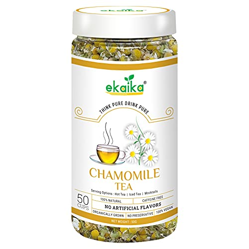 Ekaika – Chamomile Tea 50g For Good Sleep, Stress – Anxiety Relief, Weight Loss, Digestion & Immunity | Caffeine Free Dried Flowers Loose Leaves Herbal Tea | Ice Tea | Mocktails | 50 Cups