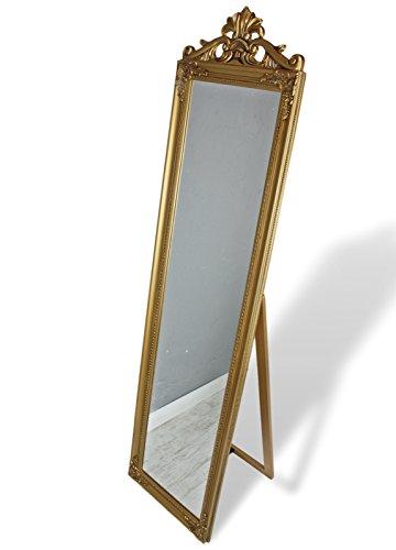 elbmöbel Standspiegel groß 180 x 45 cm barock im Landhaus-Stil mit Holz-Rahmen Patina (Gold)