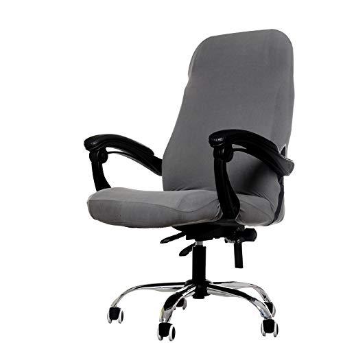 GETMOREBEAUTY - Funda para silla de oficina, funda para silla de escritorio grande para ordenador elástica de piel lavable con respaldo (gris, grande)